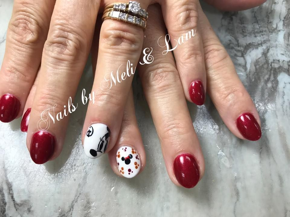 Disney Nails Red Nails Mickey Mouse Nail Art Fun Nails Short