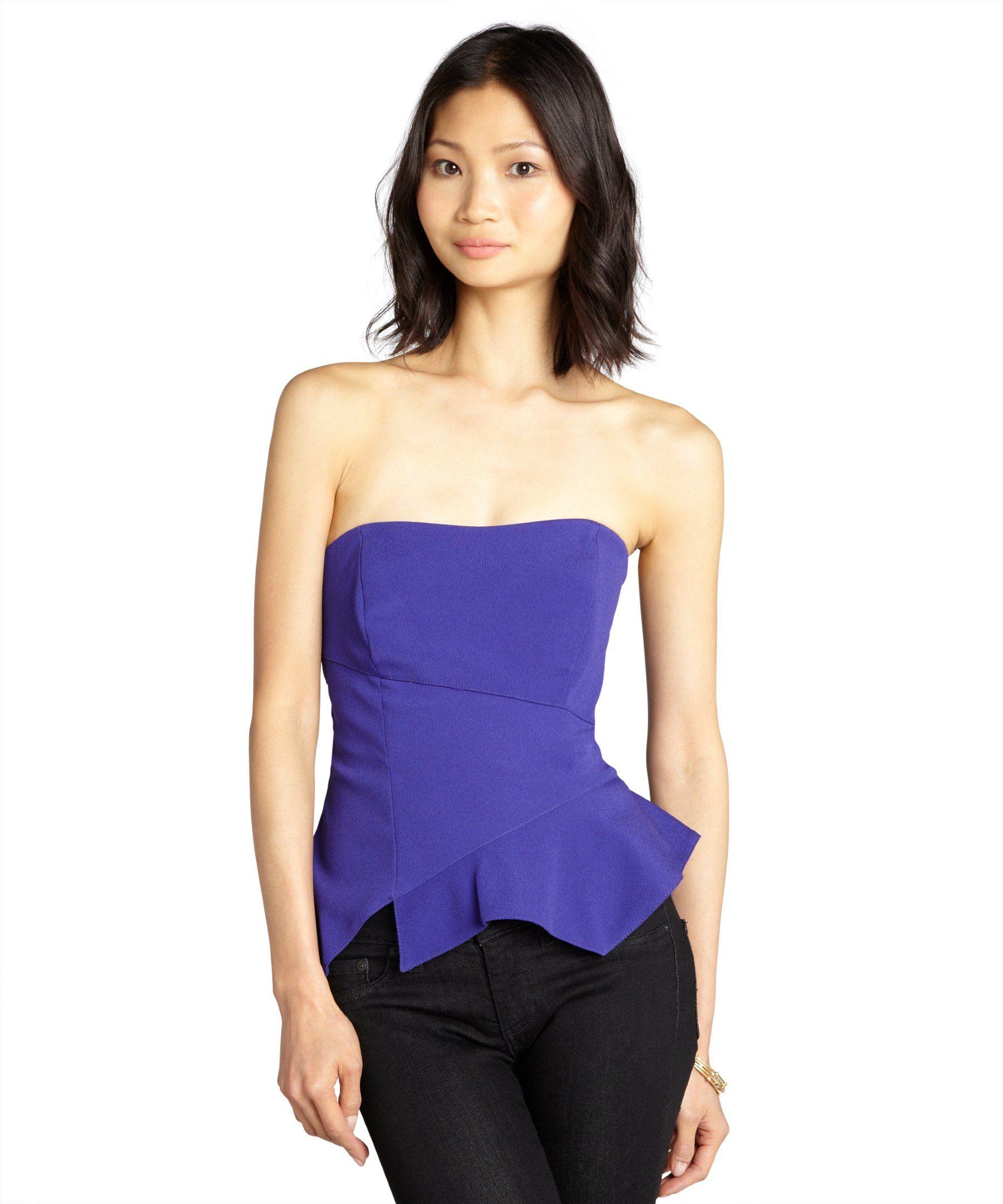 Nicole Miller royal crepe strapless asymmetrical seam peplum top ...