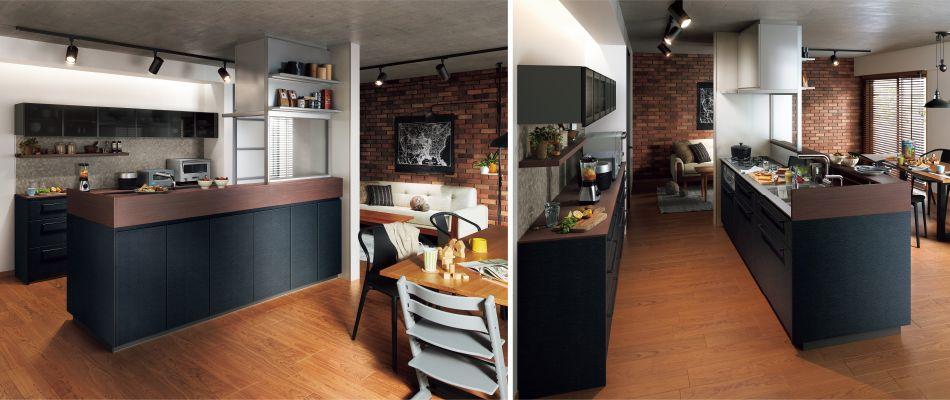 スリム対面 収納充実型キッチン クリアパーティション プラン8