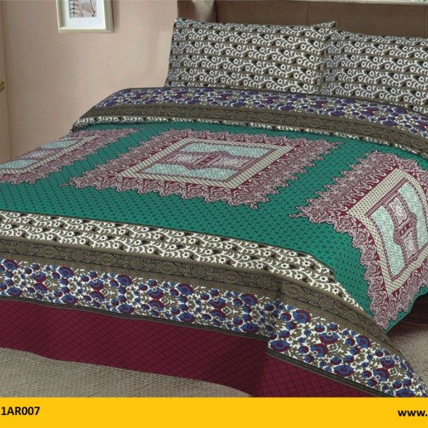 Kt1021ar007 Brand Name Aroosh 3 Pcs Printed Bed Sheets 100 Cotton 1 King