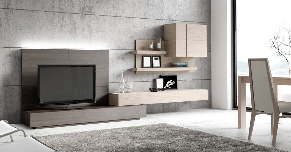 Muebles de sal n modernos en acabados de madera natural for Modulos muebles salon