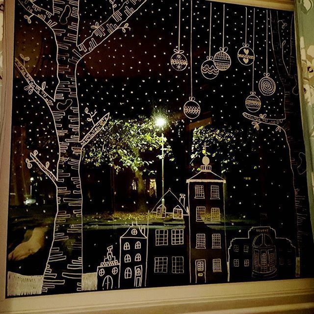 Photo of Chalk pen festive window art. #fensterkuns … – #fensterkuns #Windsterkuns …