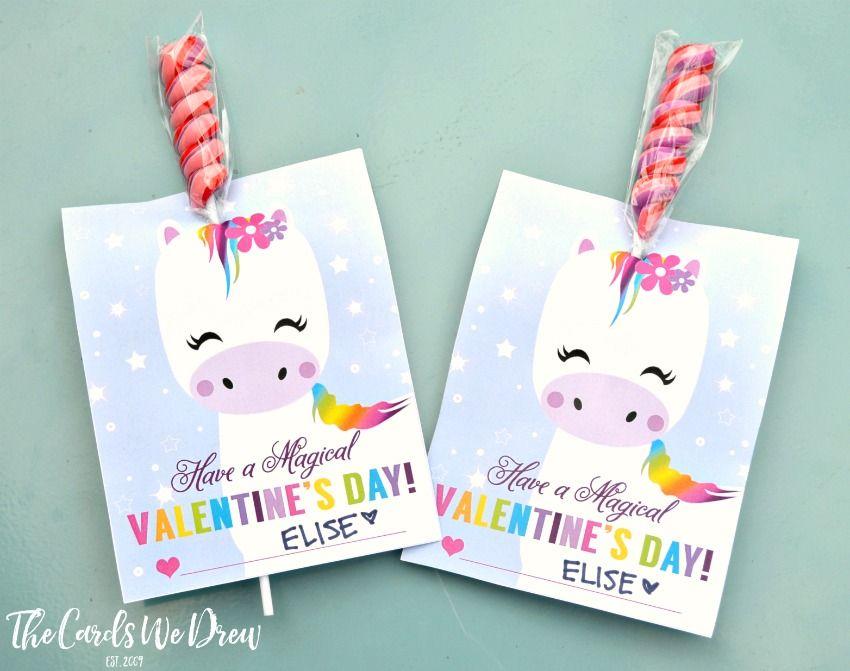 Magical Unicorn Valentine Valentine S Cards For Kids Valentines Cards Unicorn Valentine