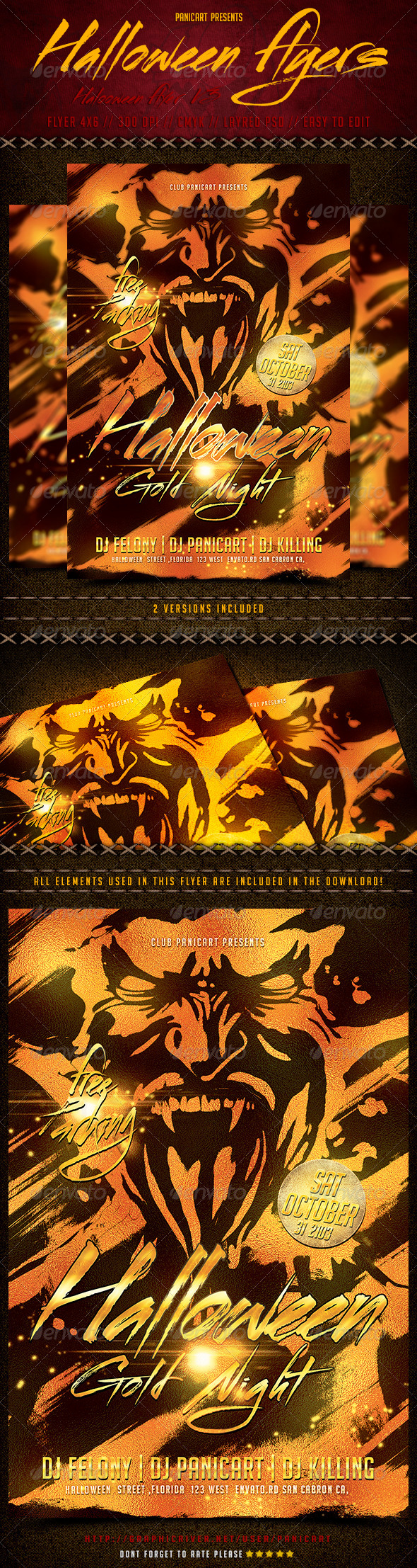 halloween flyer templete v3 graphicriver halloween gold night