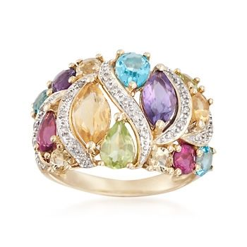 2.70 ct. t.w. Multi-Stone Ring With Diamond Accents in 14kt Yellow Gold