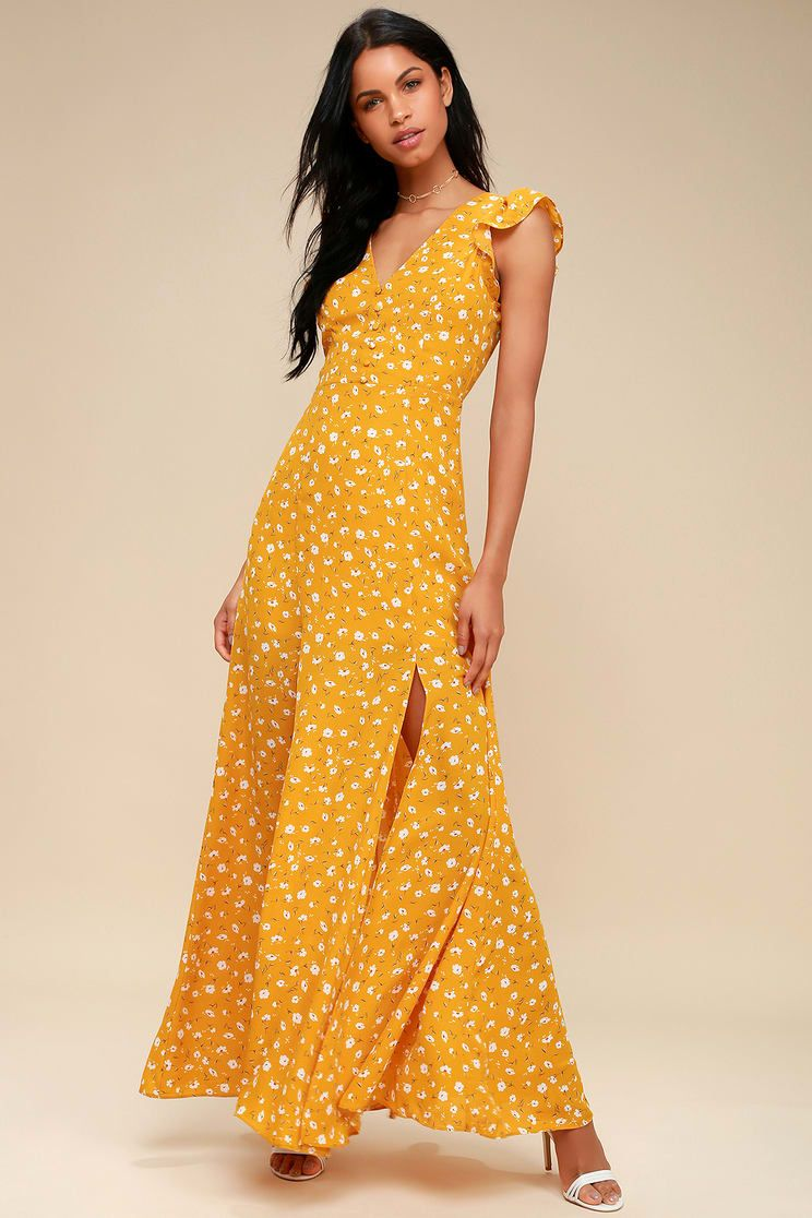 53a1b7288c Lulus | Fresh Picked Mustard Yellow Floral Print Backless Maxi Dress ...