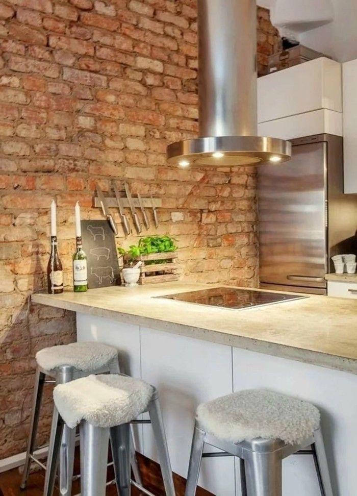 Wohnideen Küche Backsteinwand Verleiht Der Küche Einen Industriellen Look