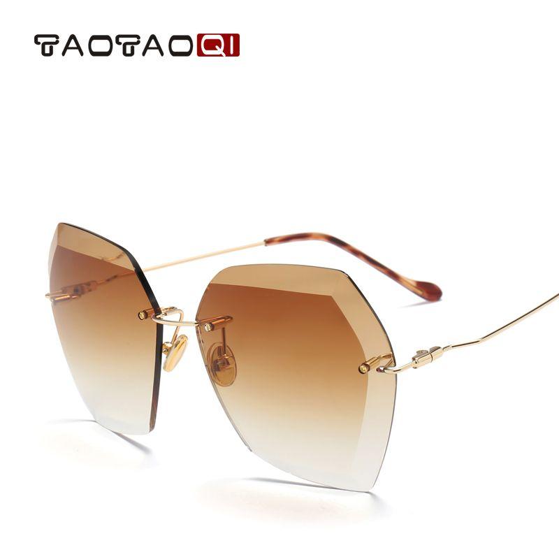 acheter TAOTAOQI De Luxe lunettes de Soleil Femmes Designer Marque De Mode Sans  Monture Lunettes de 8cfbc3548f3d