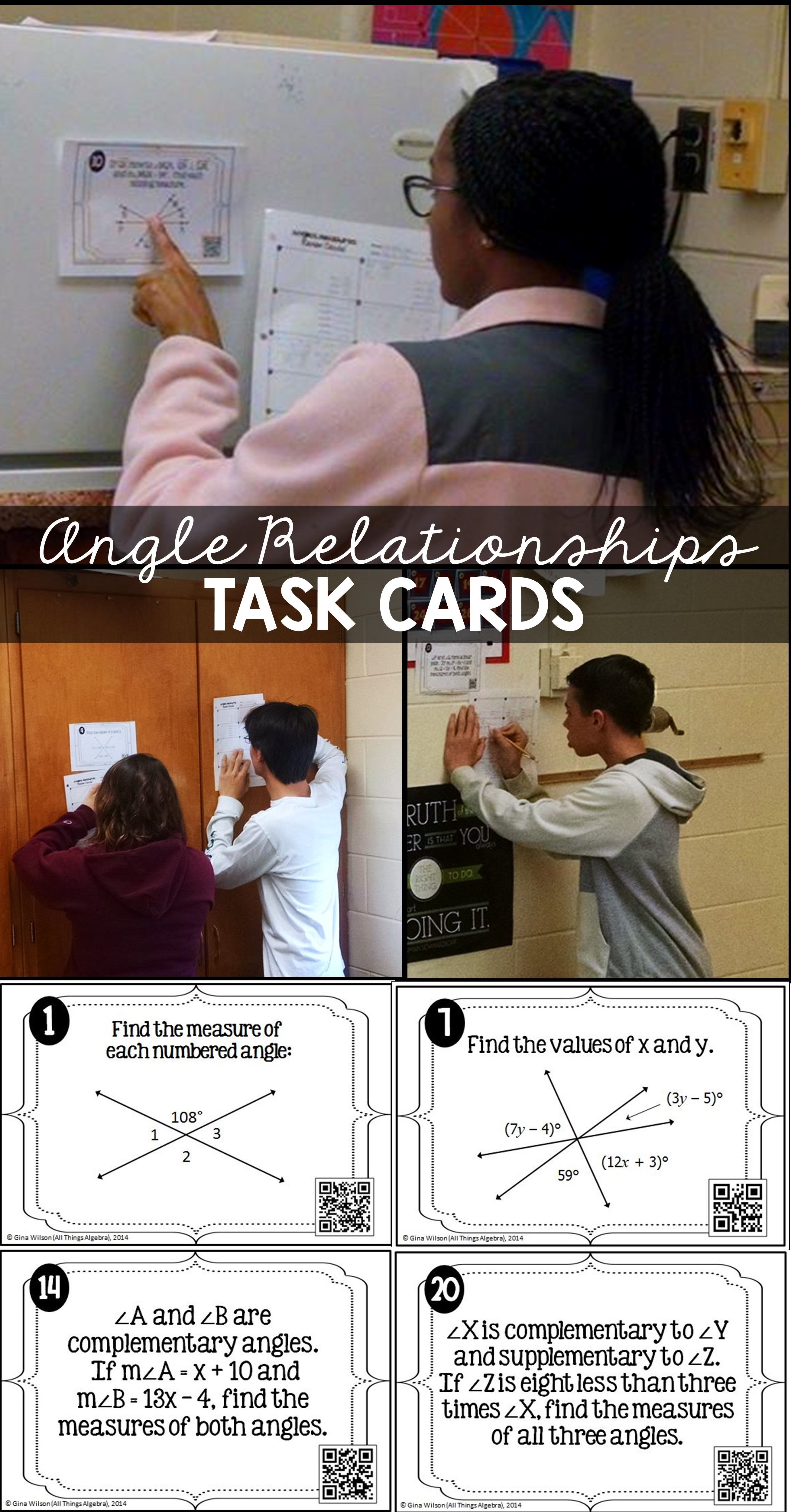 Angles Relationships Task Cards