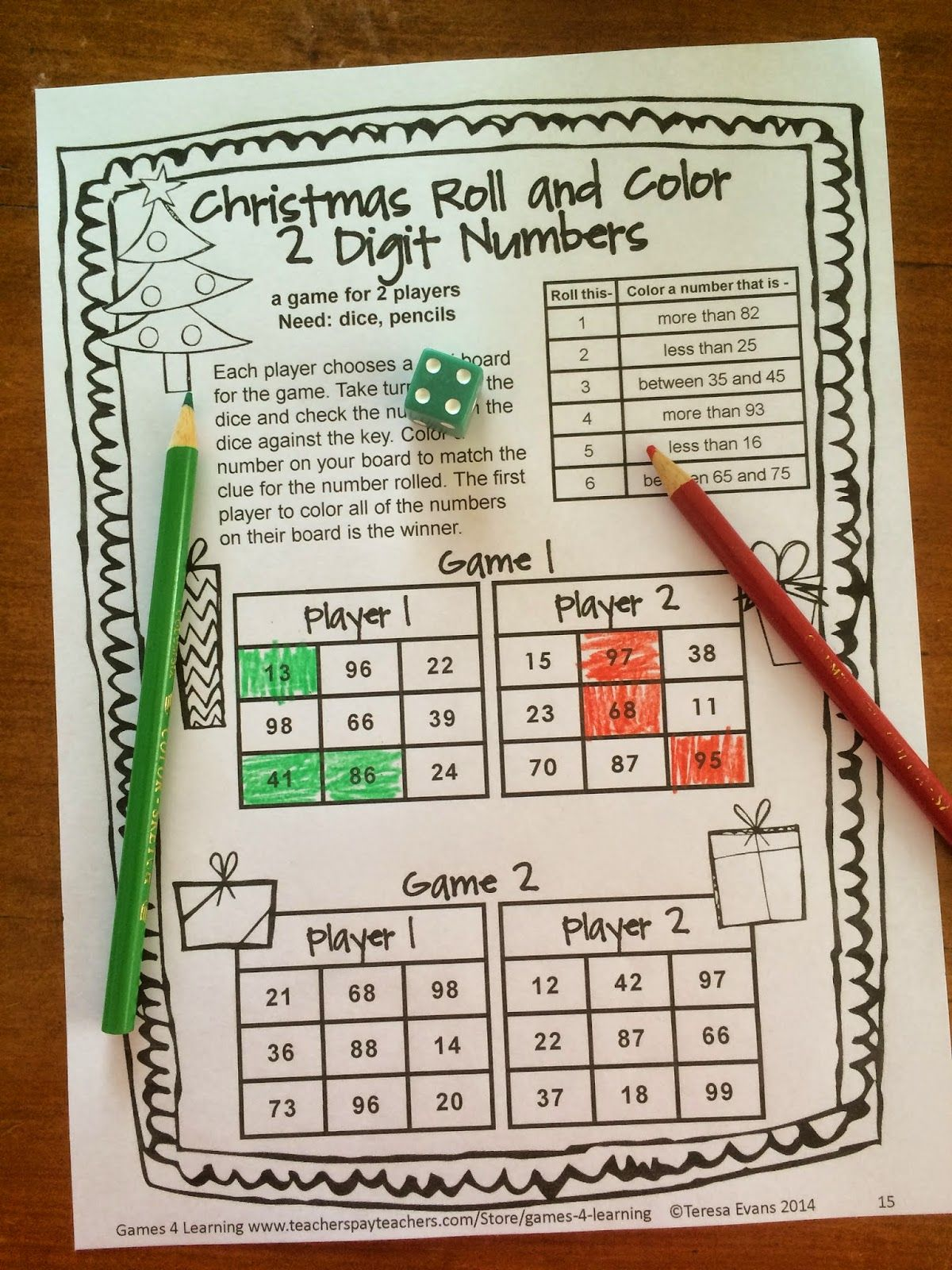 1st Grade Christmas Party Ideas Part - 23: NO PREP Game Sheet From Christmas Math Games First Grade By Games 4  Learning. This