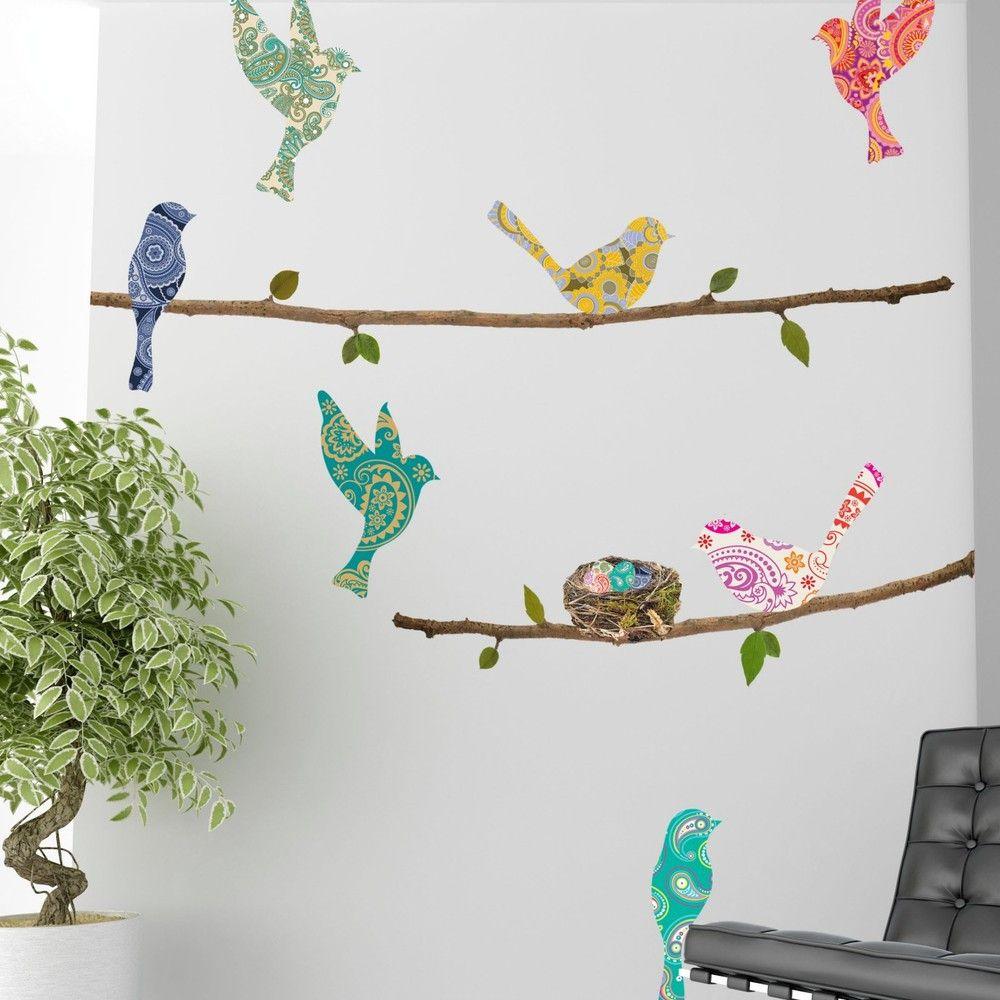 Sticker Oiseaux Sur Un Fil paisley birds and branches wall decals | bird wall decals