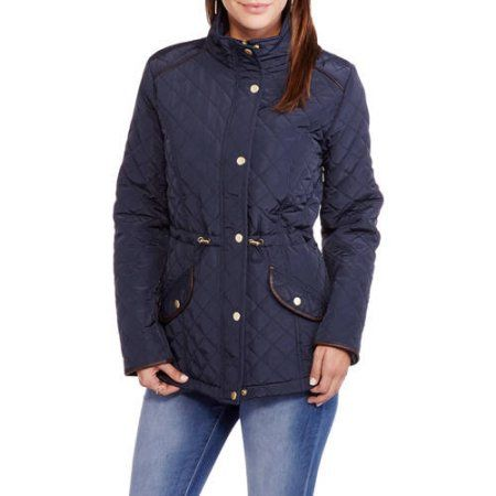 Maxwell Studio Women's Quilted Barn Jacket With Faux Leather Trim, Size: Medium, Blue