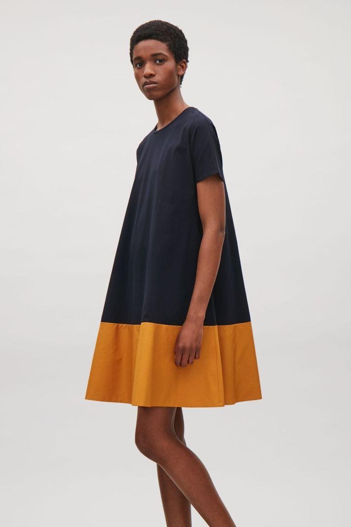 de96d9b466 COS image 2 of Contrast panel dress in Blue Dark