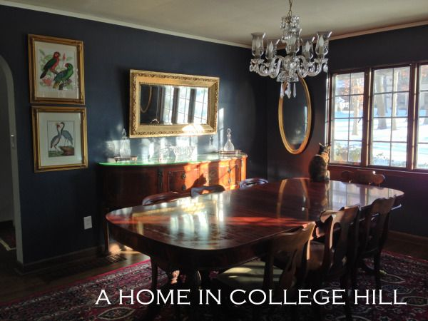 Benjamin Moore Hale Navy Dining Room Gold Mirror Frames Crystal Chandelier Empire Table Walls