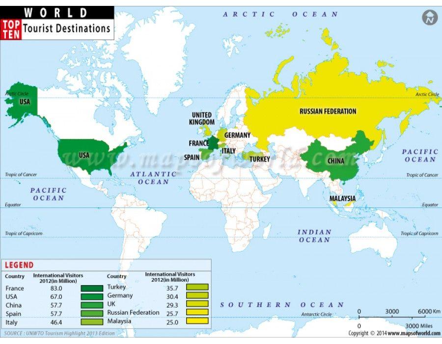 Buy World Top Ten Tourist Destinations Map - World travel map online