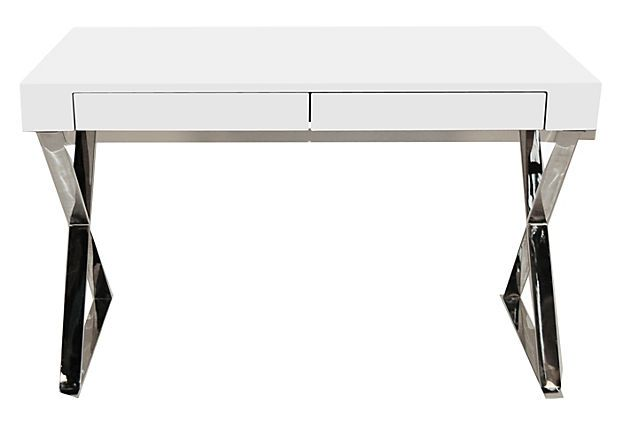 X-Leg Desk, White on OneKingsLane.com--Furniture-Concept Candie Interiors--Concept Candie Interiors now offers e-design services and custom mood boards for only $200 per room!
