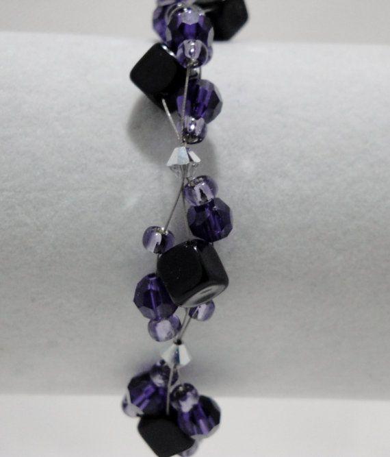 Purple and black wire bracelet