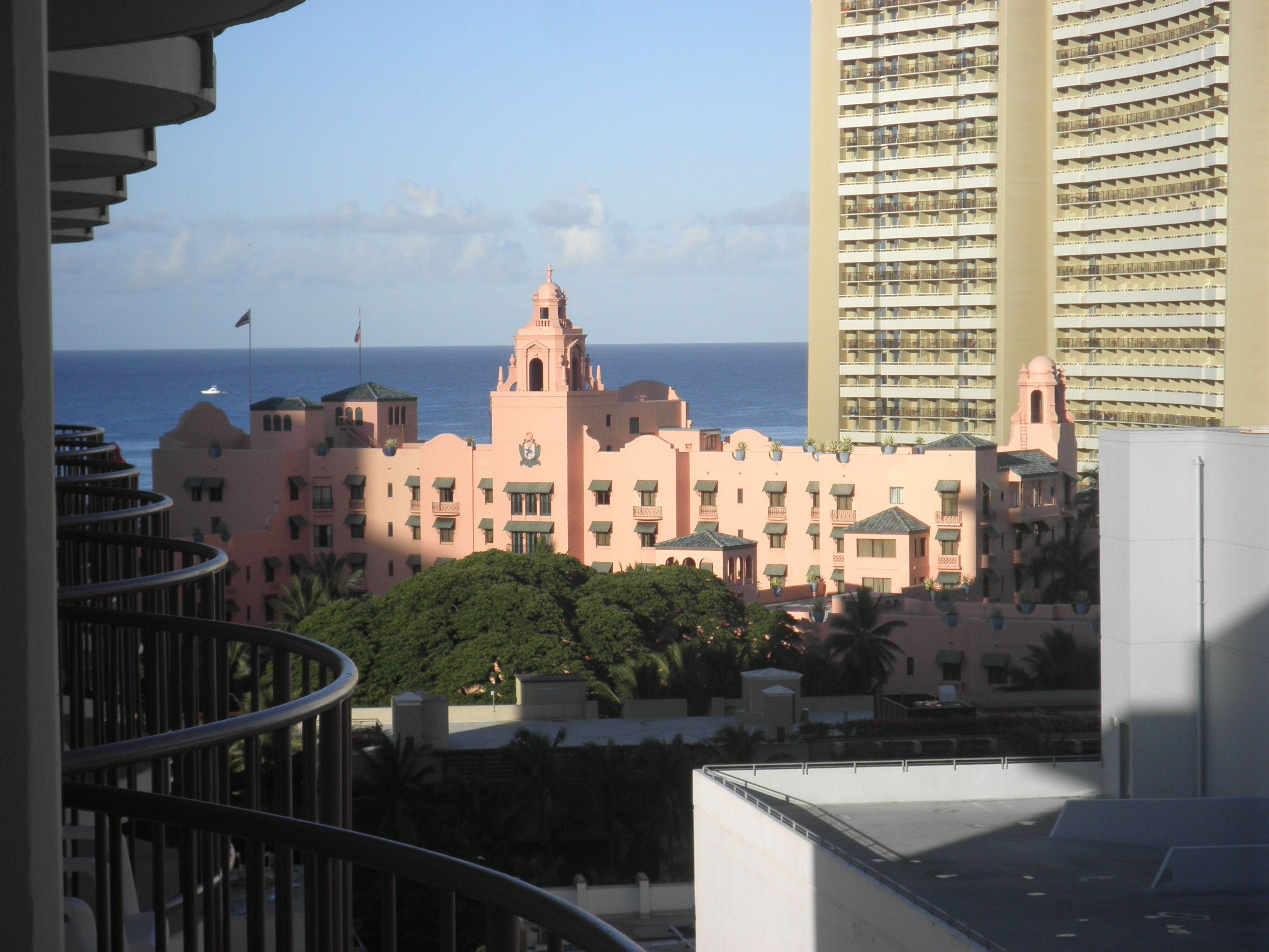 The view (including The Royal Hawaiian) from Room 12.02, Aqua Waikiki Wave on Kuhio Avenue, Waikiki.