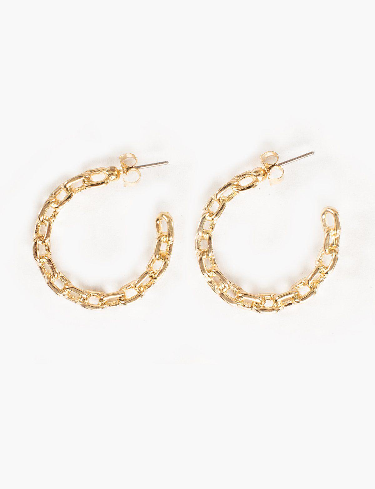 4e5b72a609c67 Chain Link Gold Hoop Earrings | B E J E W E L E D | Gold hoop ...