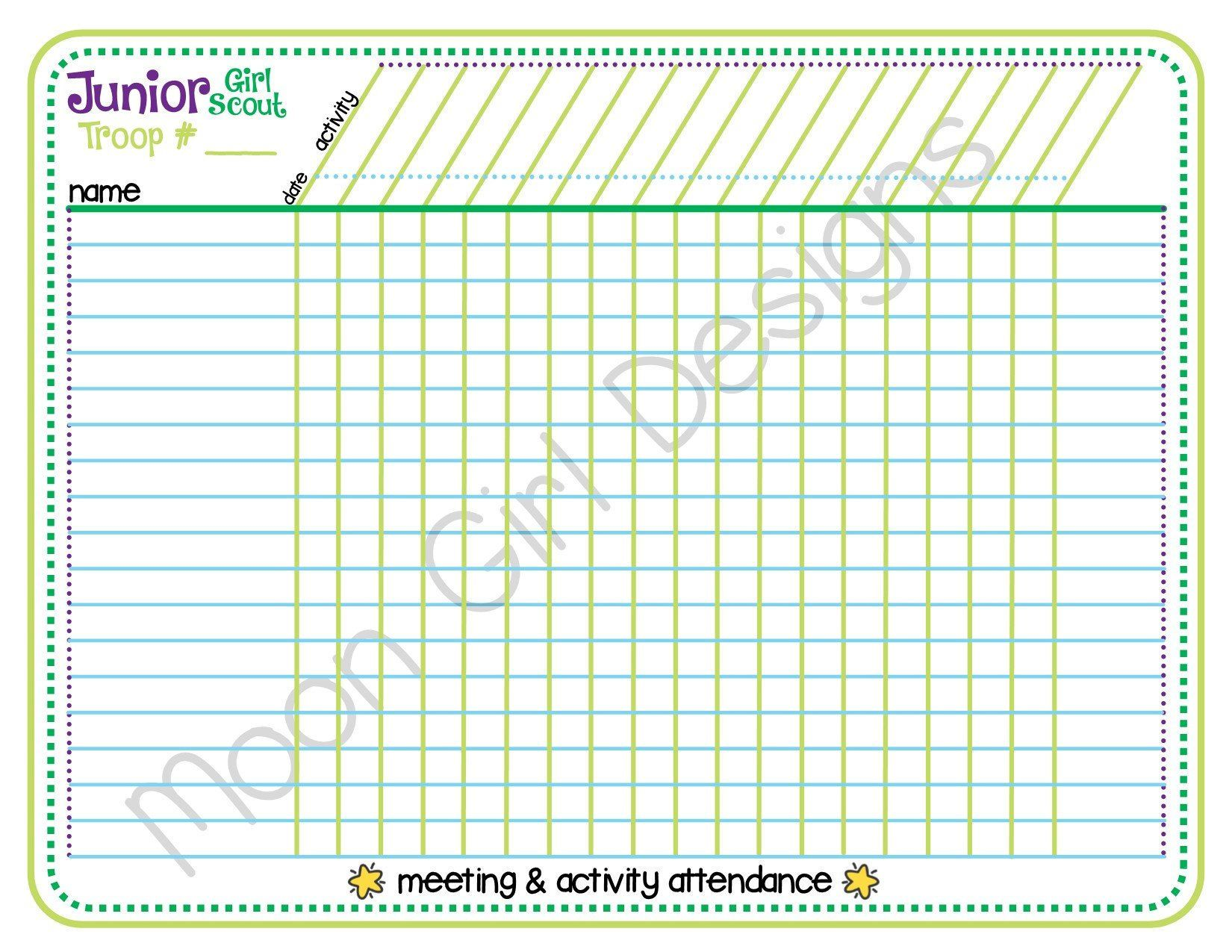 Junior Girl Scout Meeting Activity Attendance Roster