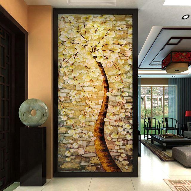 Oil paingting Tree Mural Custom 3D Wallpaper Waterproof photo ...