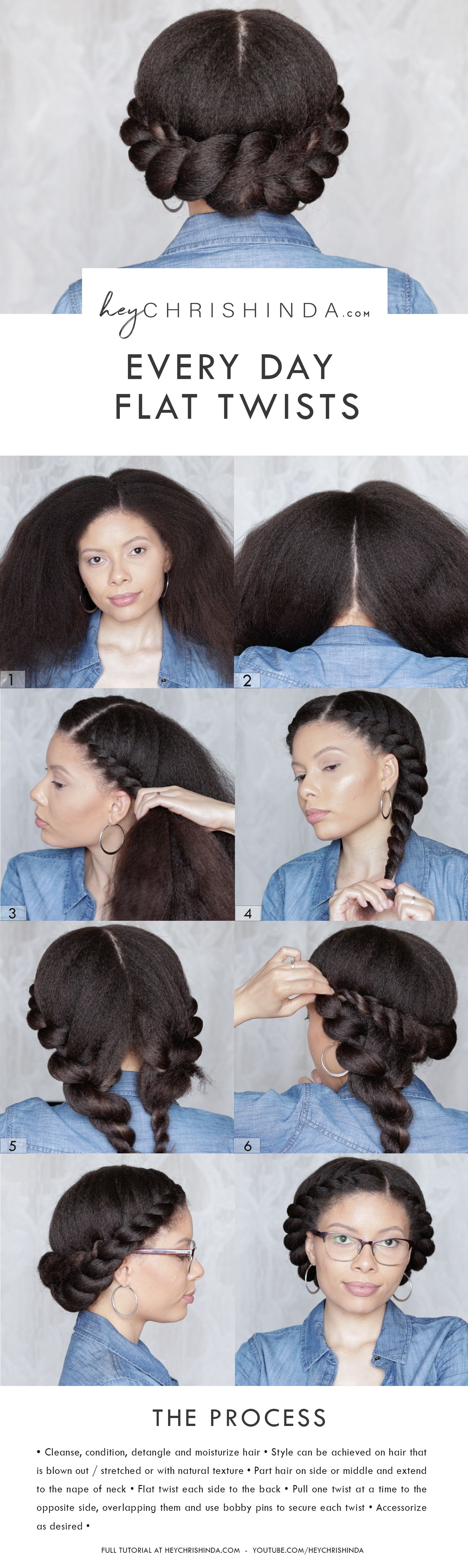 Super easy every day flat twist natural hair style hair