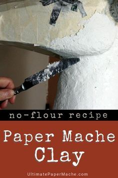 This recipe for paper mache clay contains no flour, no gluten, and won't attract mold or mice. The video shows exactly how it's made. #crafts #sculpture