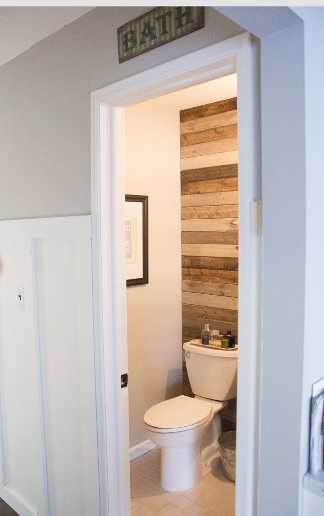 Weekend Bathroom Makeover For 150 This Nest Is Blessed Bathroom Makeover Plank Wall Bathroom Diy Pallet Wall