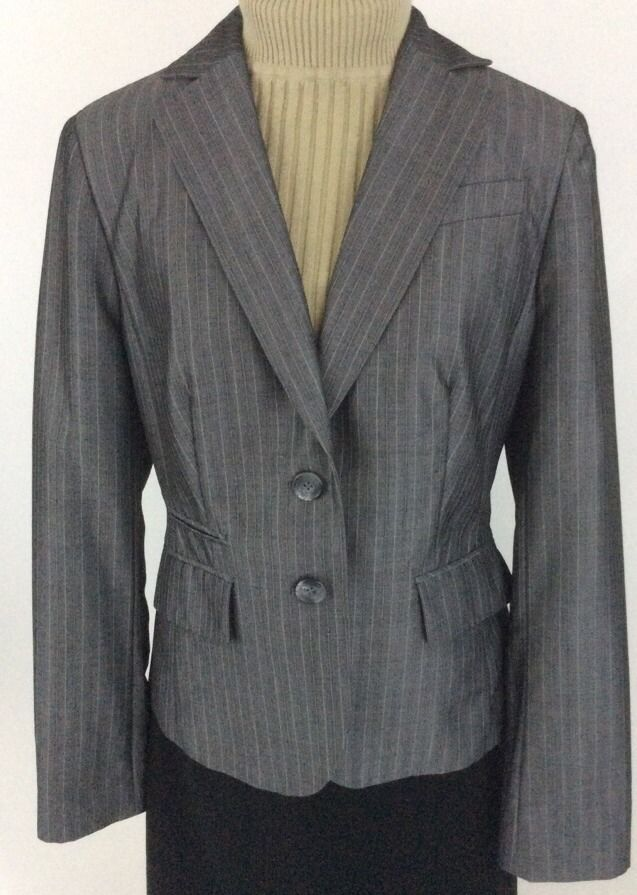1b01ac7ed4d Ann Taylor LOFT Womens Blazer Sz 6 Wool Blend Gray Striped Lined Pockets  K18  Nordstrom