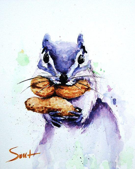 Watercolor Squirrel Print Artist Eric Sweet Squirrel Art