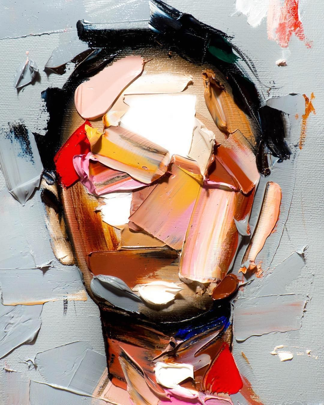 Thick Strokes of Paint Create Featureless Portraits in Abstracted Paintings by Joseph Lee
