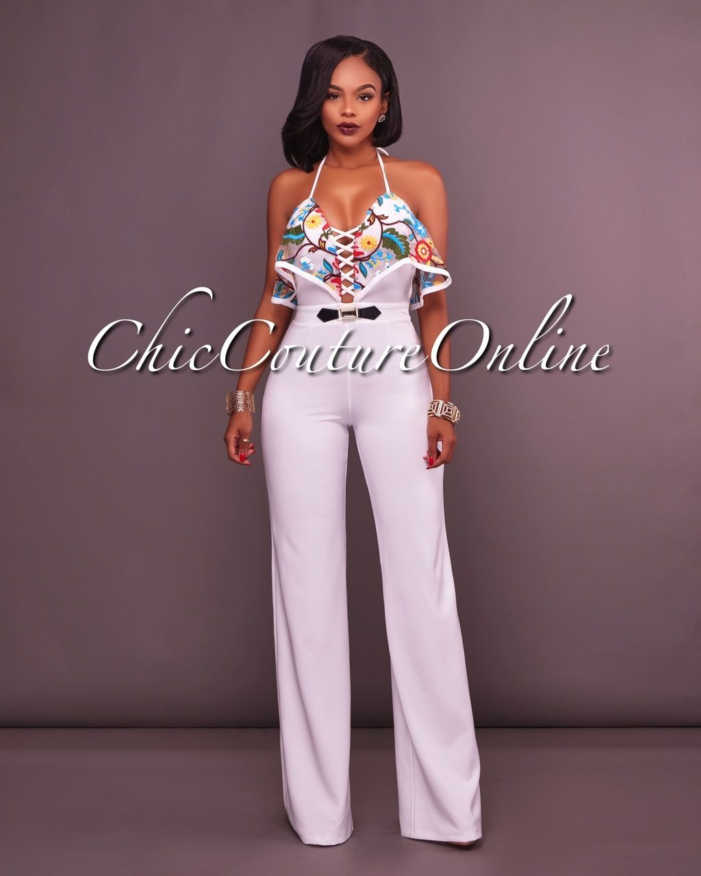 a9b38043b57b Chic Couture Online - Tayler Off-White Ruffle Top Halter Jumpsuit