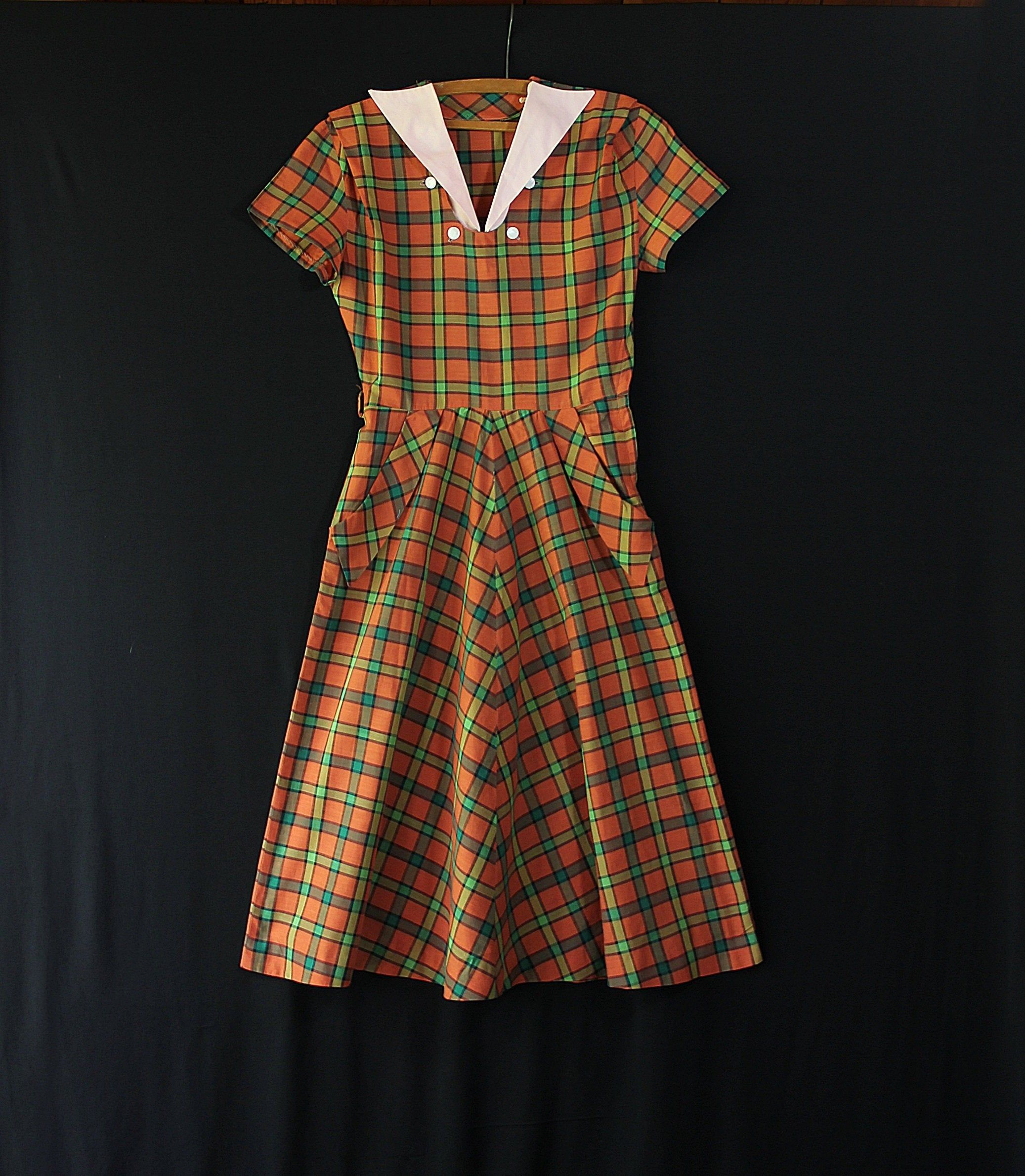 Lovely 1940s gingham dress black and white ginghan checker 40s dress with button belt button back and shoulder pads vintage shirtdress