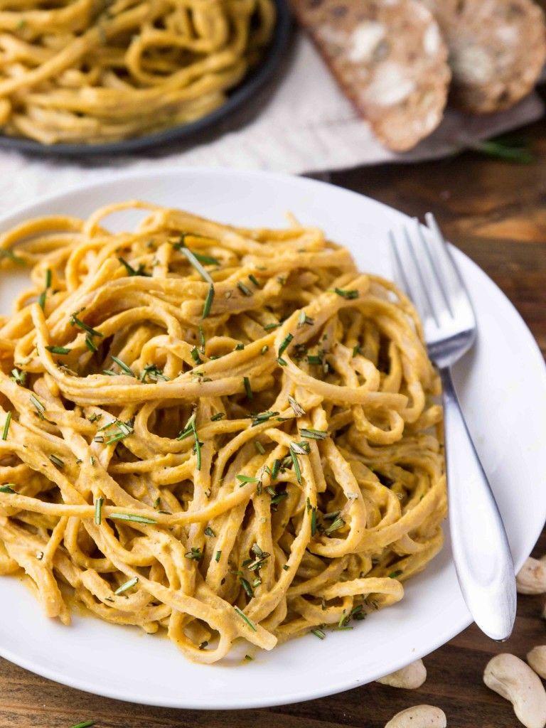 Vegan Pumpkin Alfredo Linguine | Recipe | Pasta Recipes ...