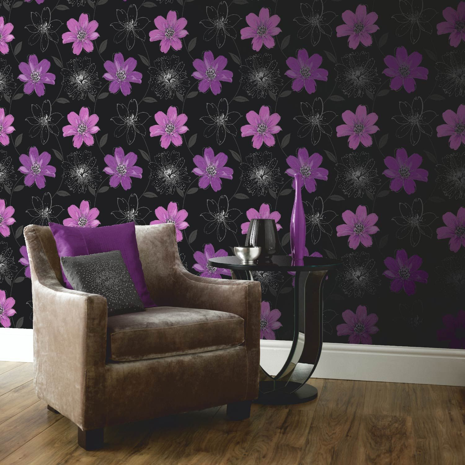 Pink And Black Bedroom Wallpaper Buy The Samba Black And Purple Floral Motif Wallpaper By Arthouse