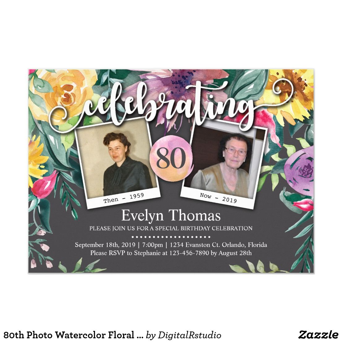 80th Photo Watercolor Floral Female Birthday Party