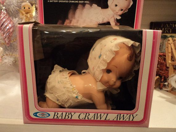 Baby Crawl Away from Playmates. Vintage 80s battery operated