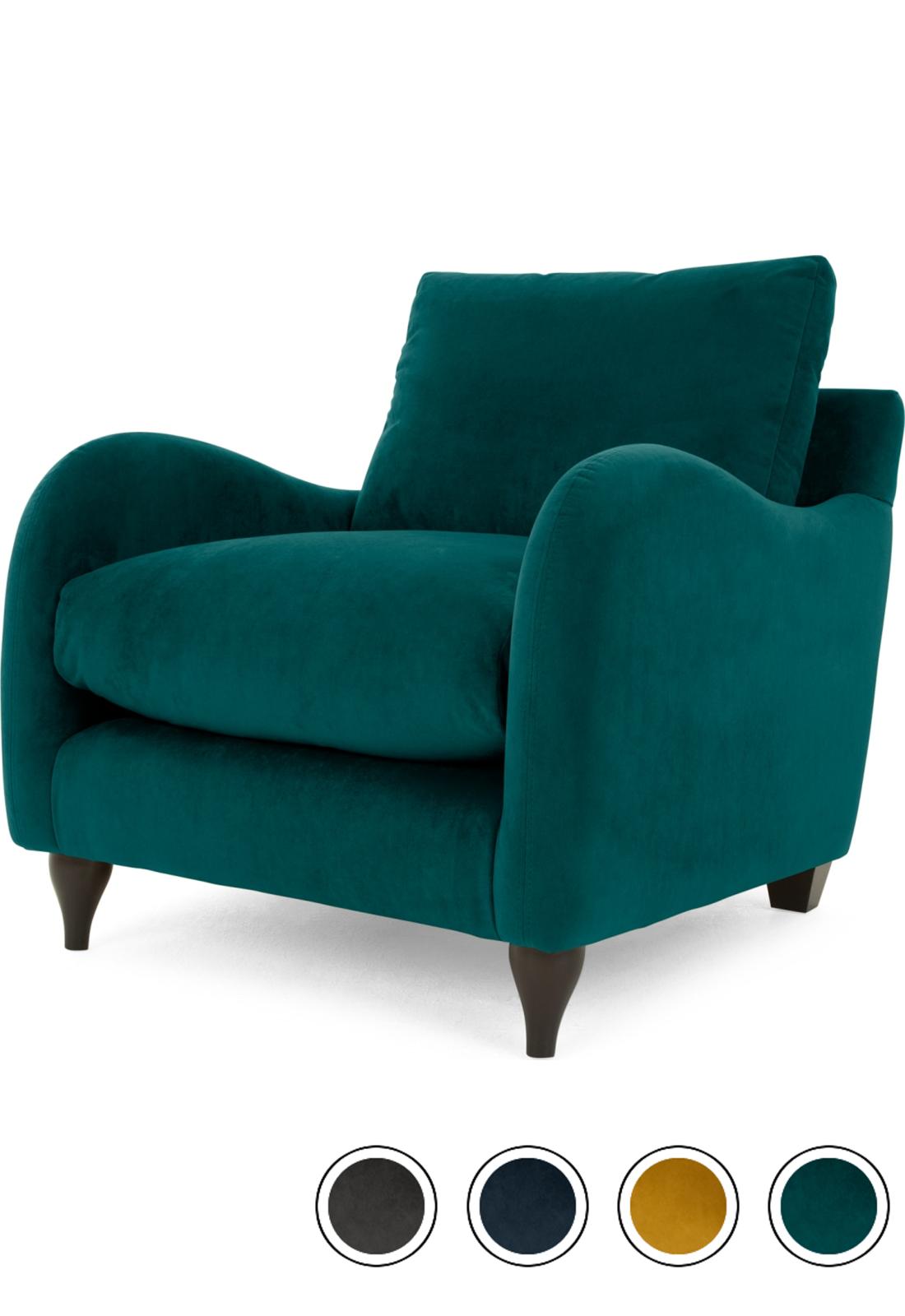 MADE Plush Mallard Velvet Armchair   Armchair, Teal ...
