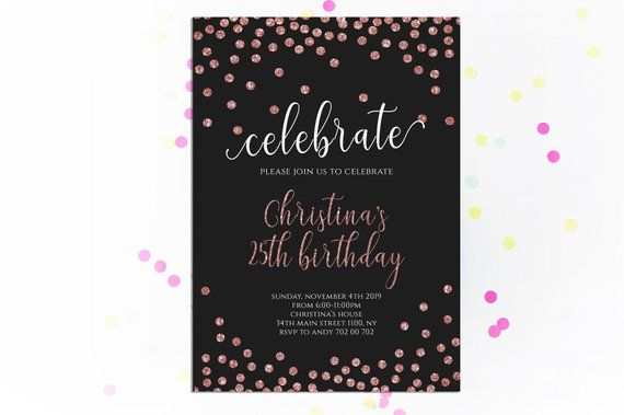 Adult Birthday Invitations Rose Gold Birthday Invitation Adult