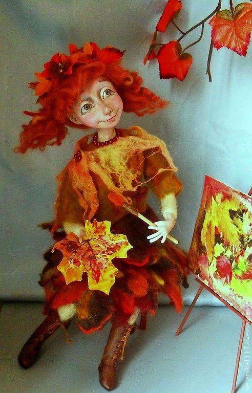"""Купить Авторская кукла """"Этюд в осенних тонах"""" - осень, художница, осенние краски"""