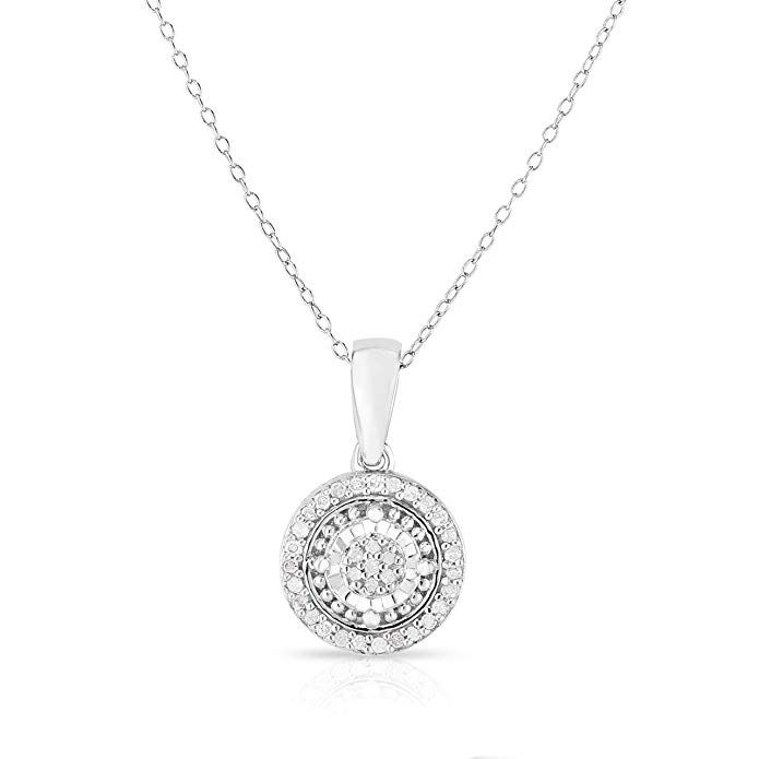 Photo of Femme Luxe 0.10 carats Diamond Pendant Necklace for Women, 925 Sterling Silver, Dainty Jewelry, Gifts for Women