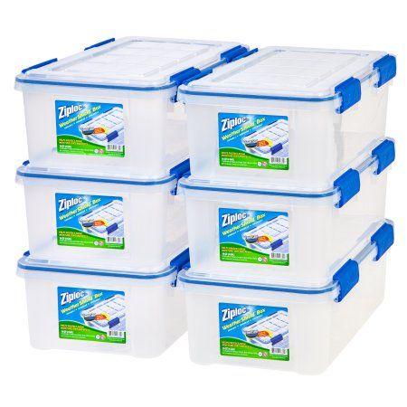 Ziploc 16 Qt./4 Gal. WeatherShield Storage Box, 6 Pack, Clear   Walmart.com
