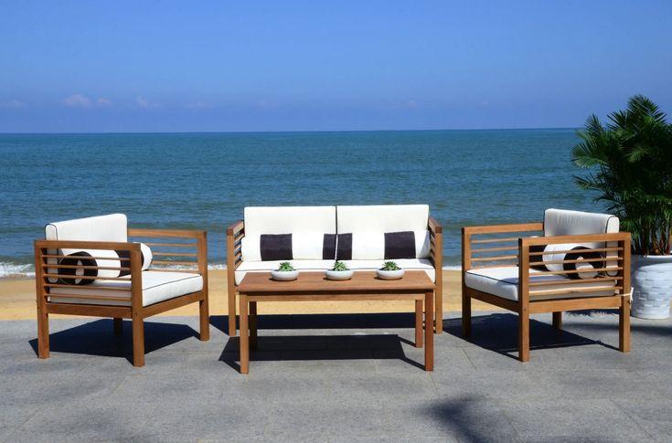 Safavieh Outdoor Living Alda Black/ White 4 Pc Set With ... on Safavieh Alda 4Pc Outdoor Set id=21583
