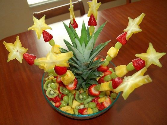 """FUN AND PRETTY FRUIT DISH - FOR ANY GATHERING (BOTH KIDS & ADULTS LOVE). CUT TOP OFF PINEAPPLE (LEAVING ABOUT 1 1/2"""" OF FRUIT), PLACE ON TOP OF A SMALL BOWL IN CENTER OF LARGER BOWL.  FILL BOWL WITH CUT FRUIT. CREATE FRUIT KABOBS WITH STAR FRUIT ON TOP, AND STICK INTO THE PINEAPPLE."""