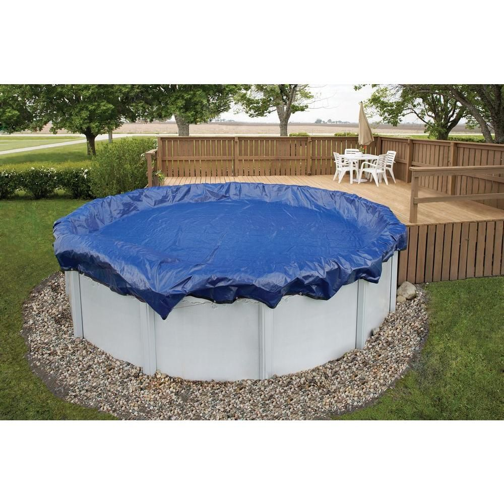 Blue Wave 15 Year 33 Ft Round Above Ground Pool Winter Cover Royal Blue Winter Pool Covers Best Above Ground Pool In Ground Pools