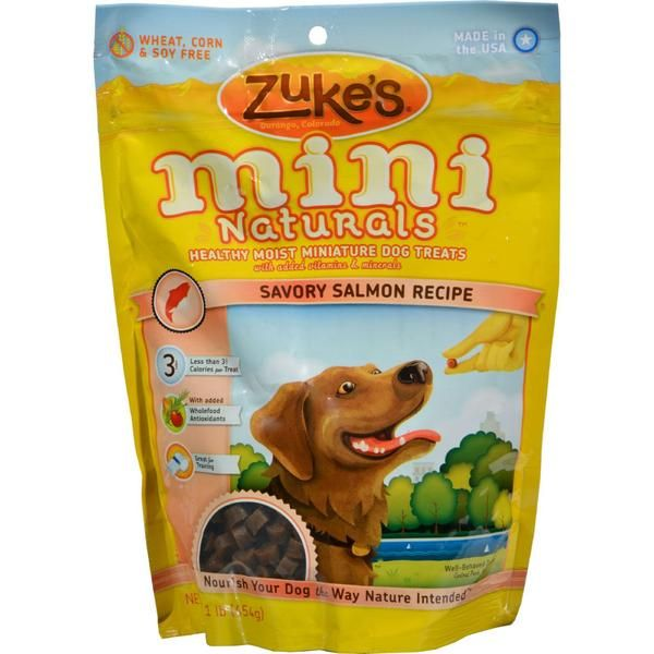 Zuke's Mini Naturals Dog Treats Salmon Description: eSmall size - the perfect training treat for adult dogs or puppies!eDelicious, soft, semi-moist textureeLow