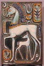 Art Deco Tile of Horses by Walter Bosse, c1930s