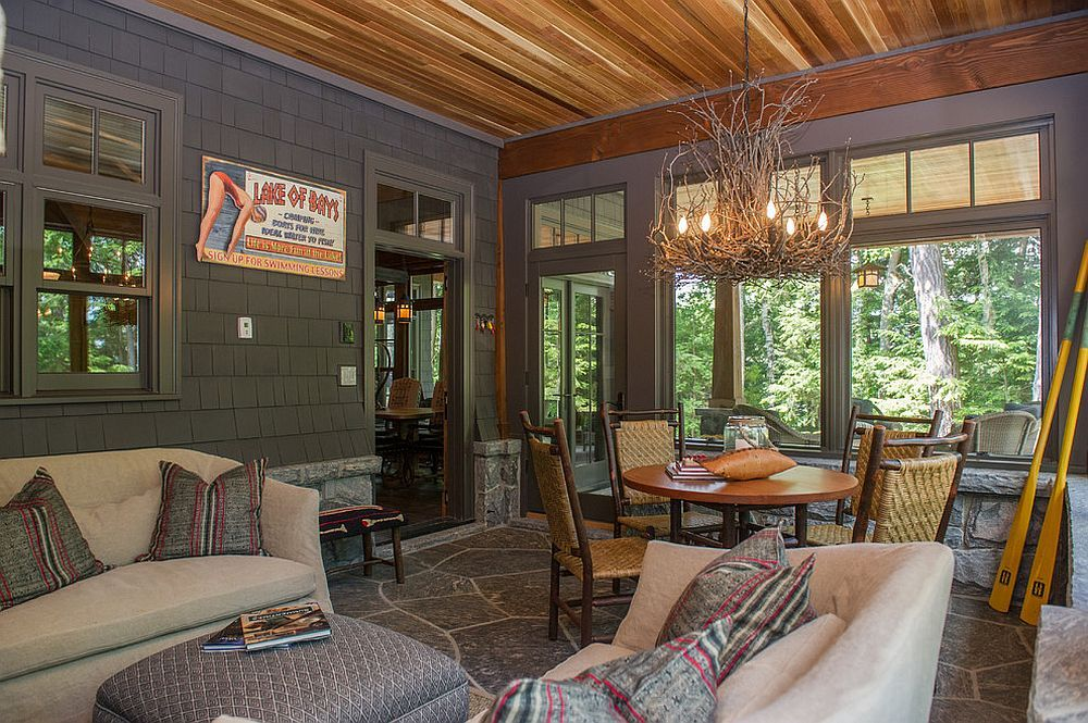 Perfect Appalachian Branch Chandelier Steals The Show In This Rustic Sunroom  [Design: SML Contracting]