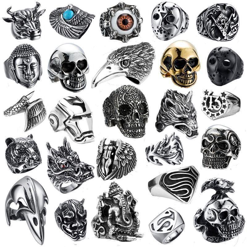 e8ae13b34d6 316L Stainless steel steam men punk ring gothic rings skull cool Men s  Jewelry