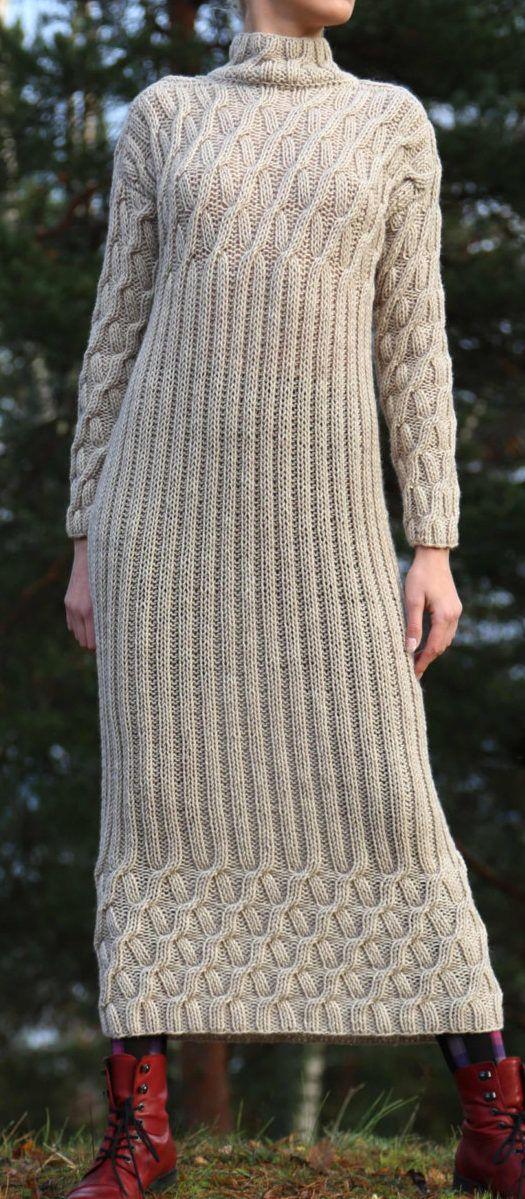 Knitting Pattern For Ilze Cable Dress Long Sleeved Calf Length